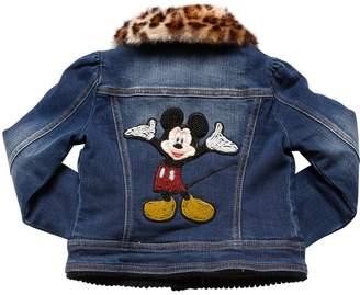 MonnaLisa Stretch Denim Jacket W/ Faux Fur Collar