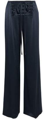 Derek Lam 10 Crosby Lace-Up Satin Wide-Leg Pants