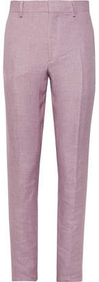 Burberry Pink Slim-Fit Linen Suit Trousers