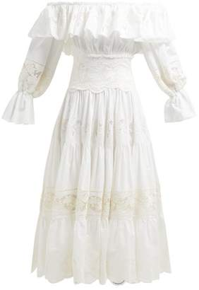 Dolce & Gabbana Tiered Lace Panelled Cotton Blend Dress - Womens - White