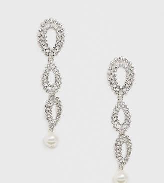 Crystal Pearl Liars & Lovers rhinestone drop statement earrings