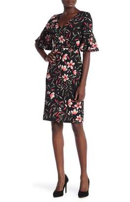Amelia 3/4 Bell Sleeve Floral Dress