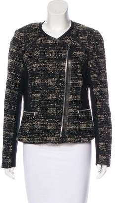 Rebecca Taylor Leather-Accented Bouclé Jacket