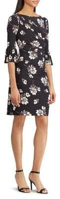 Chaps Three-Quarter Bell Sleeve Floral Dress