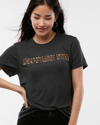 Express Champagne Star Sequin Graphic Tee