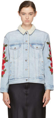 Levi's Levis Indigo Embroidered Denim Ex-Boyfriend Sherpa Jacket