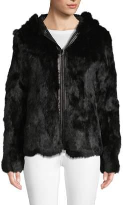 Adrienne Landau Reversible Rabbit Fur & Quilted Nylon Jacket