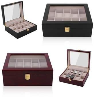 COLORFUL 10 Grids Wood Wrist Watch Display Case Jewelry Accessories Storage Holder Glass Window Box Organizer Brithday Gifts