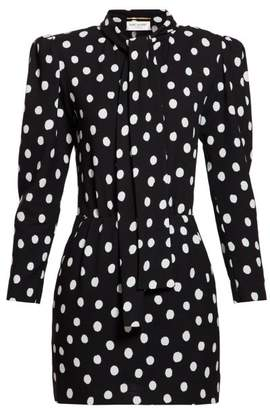 Saint Laurent Pussy Bow Polka Dot Crepe Mini Dress - Womens - Black White