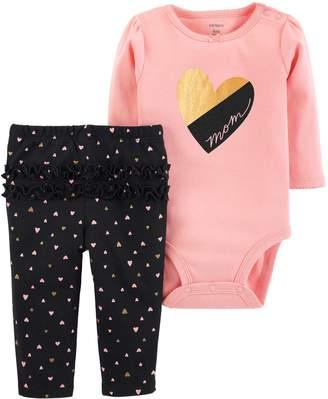 """Carter's Baby Girl Mom"""" Heart Bodysuit & Ruffled Heart Leggings Set"""