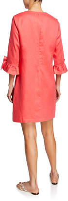 Neiman Marcus Ruffle 3/4-Sleeve Linen Shift Dress
