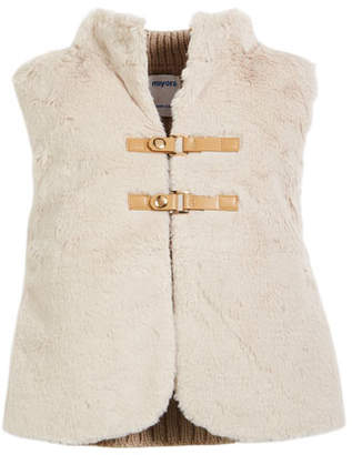 Mayoral Faux-Fur Vest w/ Cable-Knit Sweater Back, Size 3-7
