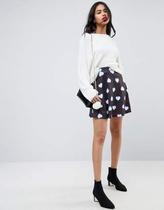 Asos Mini Skater Skirt In Heart Print