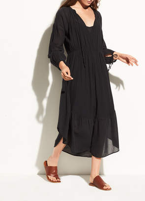 Vince Shirred Seamed Cotton Dress