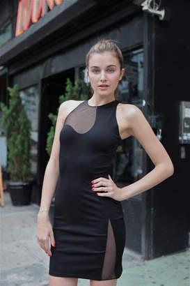 Alexander Wang Slim Dress w/Netting Cutout Detail