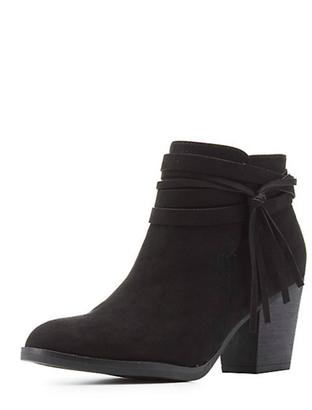 Bamboo Black Tassel Booties $52 thestylecure.com