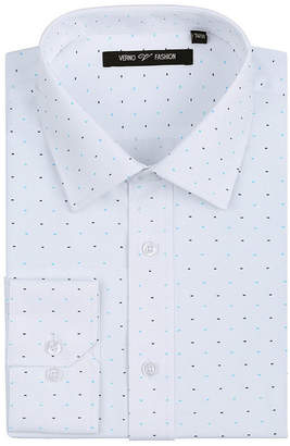 VERNO Verno Mens Printed Bow Tie Classic Fit Long Sleeve Dress Shirt - Big & Tall