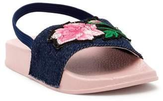 Nicole Miller Denim Slide Rose Embroidered Sandal (Toddler)