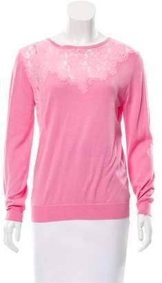 Nina Ricci Silk Lace-Accented Sweater w/ Tags