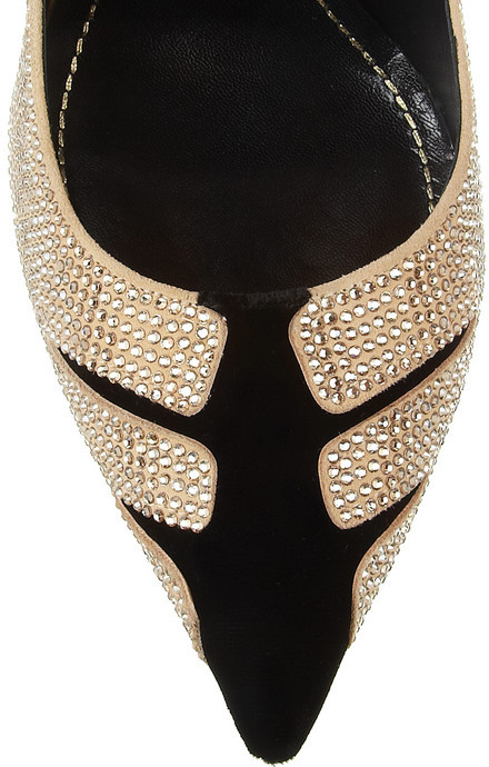 Rene Caovilla Swarovski crystal-embellished velvet and suede pumps