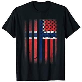 Norwegian American Flag T-shirt Norway Usa Norge