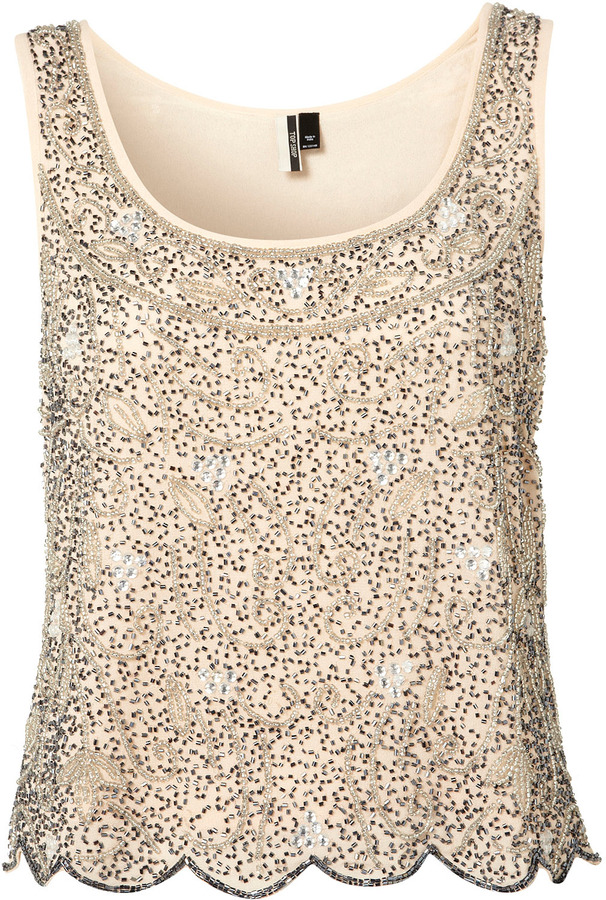 Premium Beaded Swirl Crop Vest