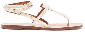 Valentino Rockstud Double Strap Leather Sandals - Womens - Cream