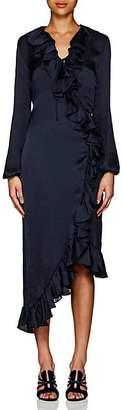 Juan Carlos Obando Women's Washed Satin Wrap-Front Dress - Navy