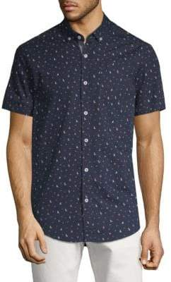 Report Collection Boat and Anchor-Print Cotton Button-Down Shirt