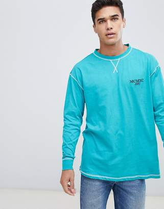 New Look long sleeve t-shirt with mcmxc embriodery in green
