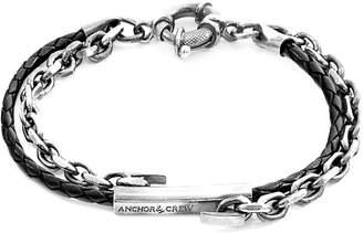Anchor & Crew Coal Black Belfast Silver & Braided Leather Bracelet