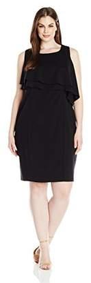 Taylor Dresses Women's Plus Size Double Tier Bodice Stretch Crepe Dress