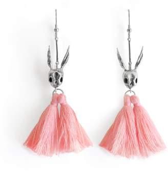 Tripp Candice Skull Rabbit Pink Tassel Earrings