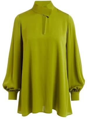 b6a996c446bf1d WtR Nijinska Green Long Sleeve Silk Tunic Blouse