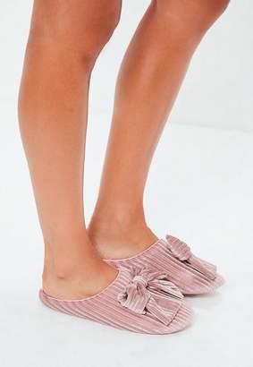 Missguided Pink Velvet Ribbed Bow Slippers