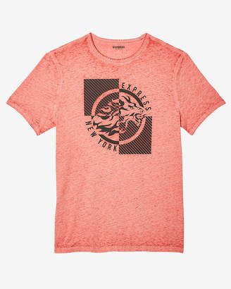 Express Lion Burnout Crew Neck Graphic Tee
