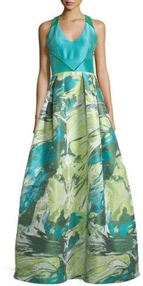 Theia Racerback Floral Jacquard Ball Gown $1,495 thestylecure.com