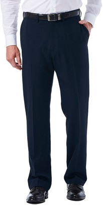 Haggar Big & Tall eCLo Tonal Plaid Classic-Fit Flat-Front Dress Pants