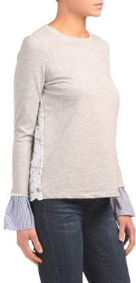 Lace Back Sweatshirt With Woven Detail