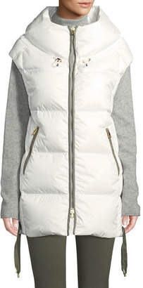 Bogner Dorea Wide Down-Filled Vest w/ Lace-Up Sides