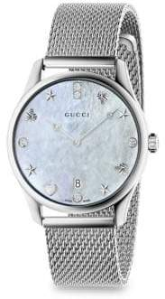 Gucci G-Timeless Diamond Mother-Of-Pearl Mesh Bracelet Watch