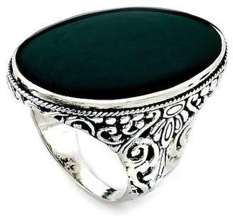 Samuel B Jewelry Sterling Silver Bezel Set Black Onyx Balinese Oval Ring