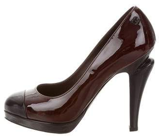 Chanel Patent Leather Cap-Toe Pumps