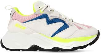 MSGM 50mm Attack Mesh & Suede Sneakers