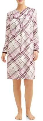 Secret Treasures Women's and Women's Plus Long Sleeve Snap Front Diamond Fleece Breakfast Gown