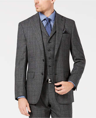 Tallia Men's Slim-Fit Charcoal Plaid Wool Suit Jacket