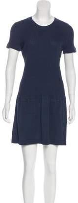 Chanel Short Sleeve Rib Knit Dress