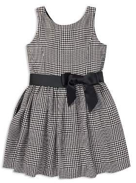 Ralph Lauren Girls' Sateen Glen Plaid Dress with Sash - Little Kid