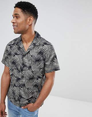 Kiomi Short Sleeve Shirt With Revere Collar In Black Leaf Print