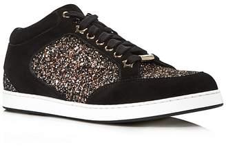 Jimmy Choo Women's Miami Glitter & Suede Low Top Sneakers